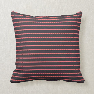 Pink Vertical pattern lines, Black Throw Pillow