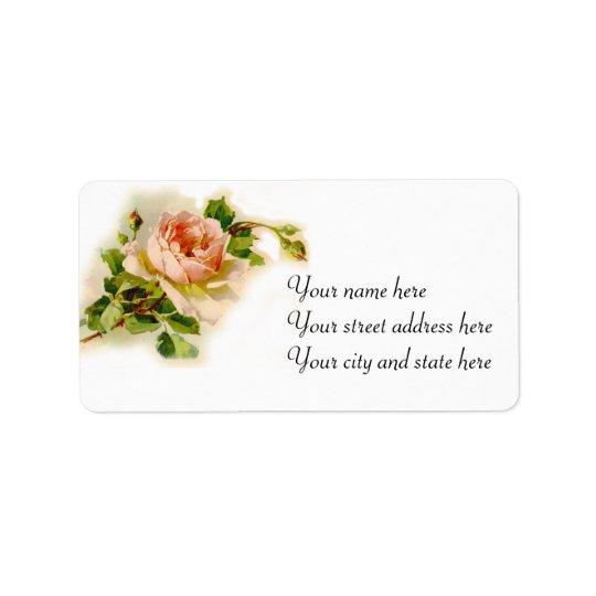 Pink Victorian Rose Address Label