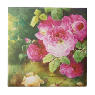 Pink Victorian Rose Small Square Tile