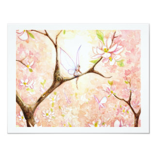 Pink View Blossom 11 Cm X 14 Cm Invitation Card