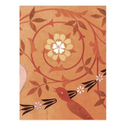 Pink Vine and Vase Textile Post Cards