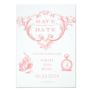 Pink Vintage Alice in Wonderland Save the Date Card