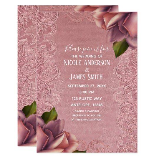 Pink Vintage Antique Dusty Rose Elegant Wedding Card