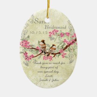 Pink Vintage Bird Maid of Honor Ornaments