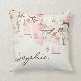 Pink Vintage Birdcages Floral Personalised Pillow