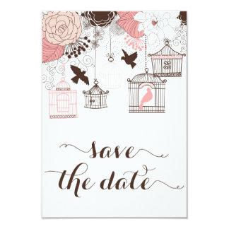 Pink Vintage Birdcages Floral Save the Date Card