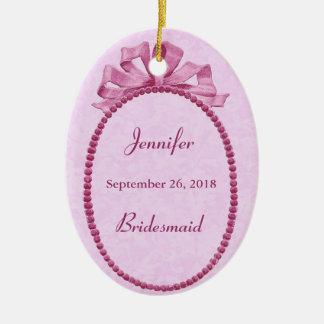 Pink Vintage Bow Bridesmaid Thank You Wedding Ceramic Oval Decoration