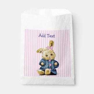 Pink Vintage Bunny Rabbit Candy Favor Bag