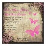 Pink Vintage Butterfly Invitation