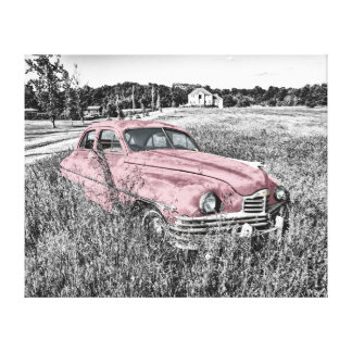 pink vintage car canvas print