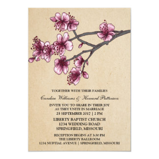 Pink Vintage Cherry Blossoms Wedding Invite