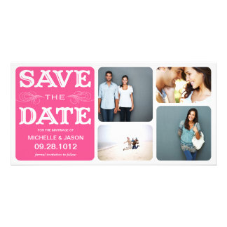 PINK VINTAGE COLLAGE | SAVE THE DATE ANNOUNCEMENT CUSTOM PHOTO CARD