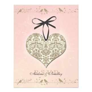 Pink Vintage Damask Heart Wedding Reply Card