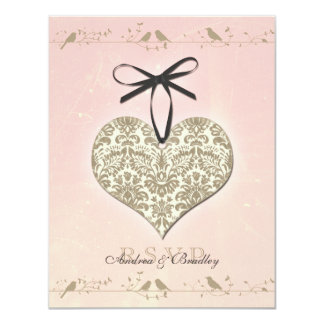 Pink Vintage Damask Heart Wedding Reply Card 11 Cm X 14 Cm Invitation Card