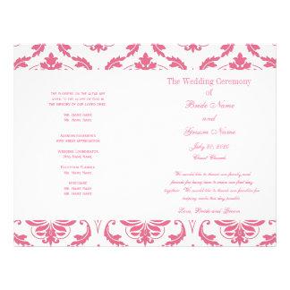 Pink Vintage Damask Wedding Program Custom Flyer