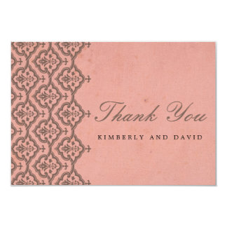 Pink Vintage Damask Wedding Thank You Card Invite
