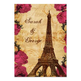 Pink vintage eiffel tower Paris thank you 13 Cm X 18 Cm Invitation Card