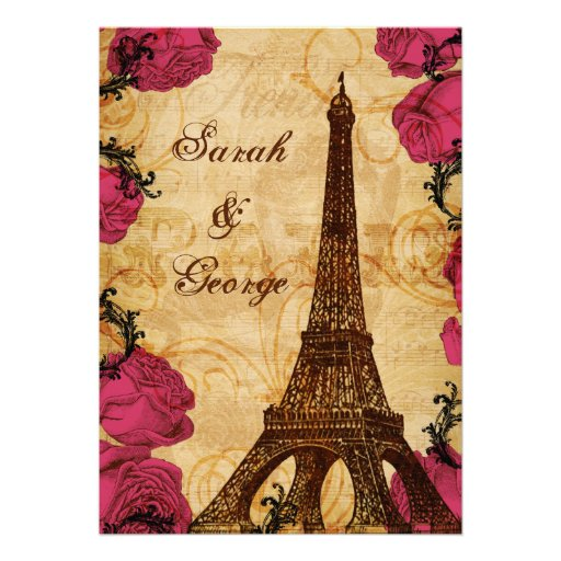 Pink vintage eiffel tower Paris thank you Personalized Invite