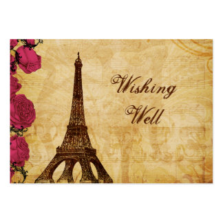 Pink vintage eiffel tower Paris wishing well card Business Cards