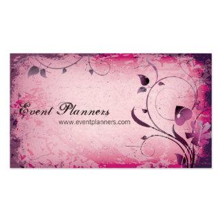 Pink Vintage Event Planner Leafy Business Card