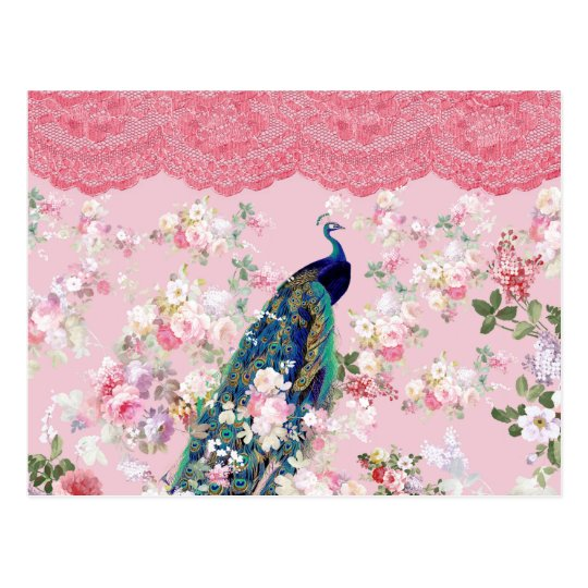 Pink vintage floral elegant lace colourful peacock postcard