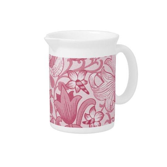 Pink vintage floral print pitcher