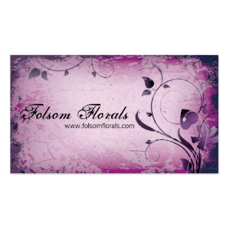 Pink Vintage Florist Leafy Swirl Business Card