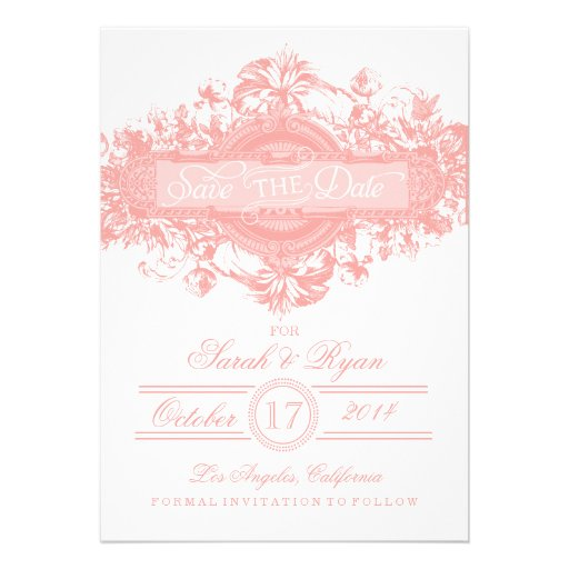 PINK VINTAGE FLOWER SAVE THE DATE PERSONALIZED INVITATION