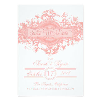 PINK VINTAGE FLOWER SAVE THE DATE 13 CM X 18 CM INVITATION CARD