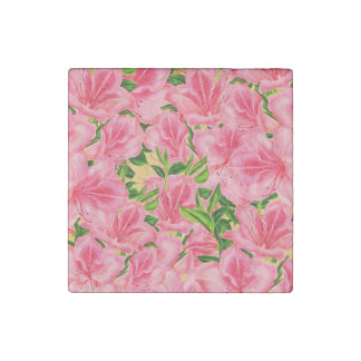 Pink Vintage Flowers Stone Magnet