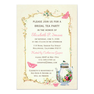 Pink Vintage French Bridal Tea Party 13 Cm X 18 Cm Invitation Card