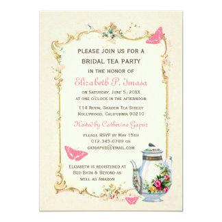 Pink Vintage French Bridal Tea Party 13 Cm X 18 Cm Invitation Card
