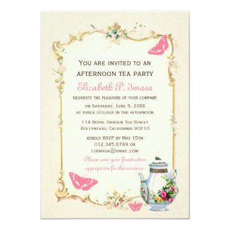 Pink Vintage French Tea Party 13 Cm X 18 Cm Invitation Card