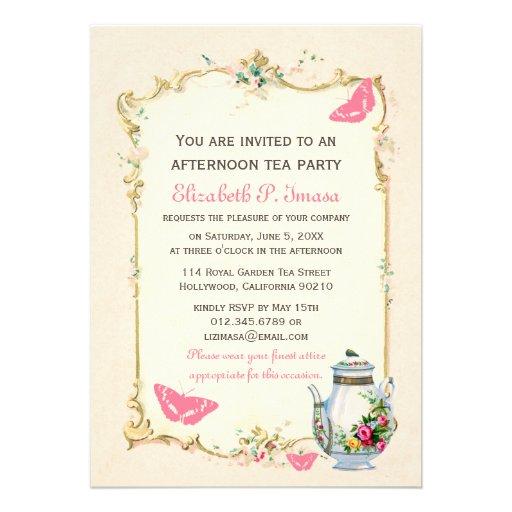 Pink Vintage French Tea Party Custom Invitation