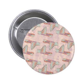 Pink vintage house pattern 6 cm round badge