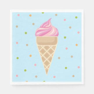 Pink Vintage Icecream Illustration Disposable Napkins