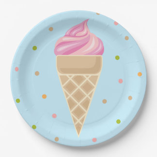 Pink Vintage Icecream Illustration. Paper Plate
