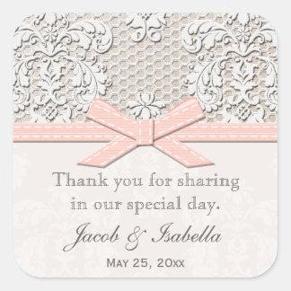 Pink Vintage Lace Wedding Favor Labels Stickers