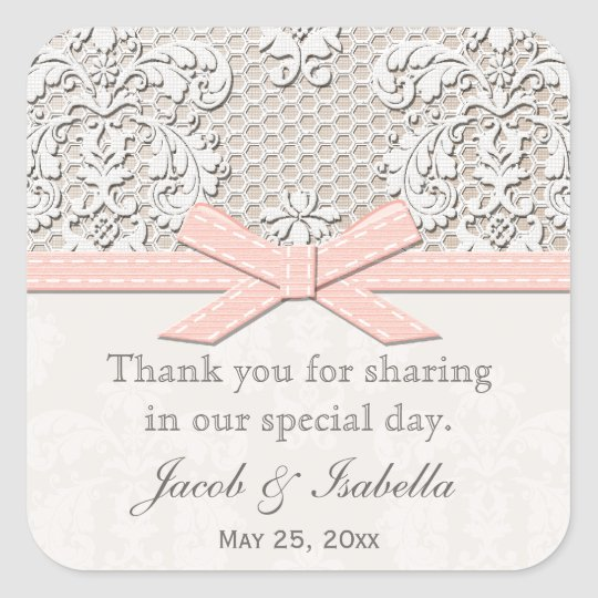 Pink Vintage Lace Wedding Favour Labels Stickers