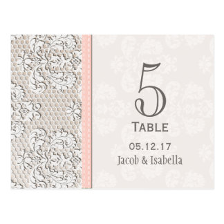 Pink Vintage Lace Wedding Table Number Card