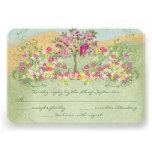 Pink Vintage Love Bird Flower Swirl Wedding RSVP Personalized Announcement