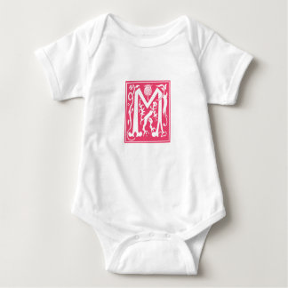 Pink vintage M letter customise name of baby girl Baby Bodysuit
