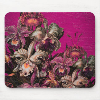 Pink Vintage Oil Brush Painting Mouse Pad