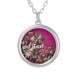Pink Vintage Oil Brush Painting Round Pendant Necklace