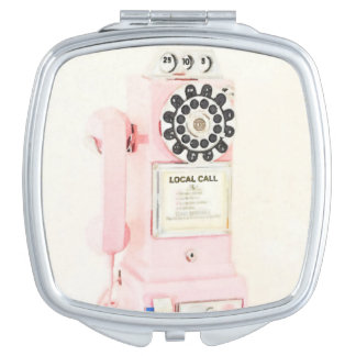 Pink Vintage Payphone Compact Mirrors