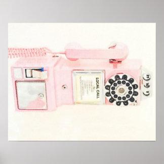 Pink Vintage Payphone Poster