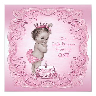 Pink Vintage Princess 1st Birthday Party 13 Cm X 13 Cm Square Invitation Card