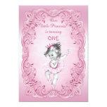 Pink Vintage Princess Ballerina 1st Birthday Party 13 Cm X 18 Cm Invitation Card