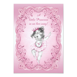 Pink Vintage Princess Ballerina Baby Shower 13 Cm X 18 Cm Invitation Card