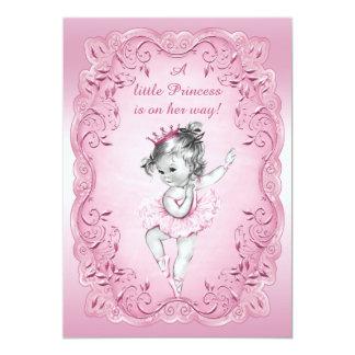 Pink Vintage Princess Ballerina Baby Shower Card